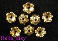 120 Pcs Antiqued gold plt heart flower bead caps 10mm A191