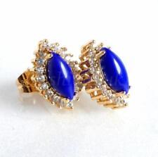 Orecchini di bigiotteria bottoni blu ovale