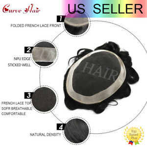 Men Toupee French lace Mens Grey Hairpieces Human hair Replacement for Men D7-5