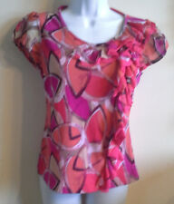 East 5Th Ladies Size PS Bright Pink Designed Cap Sleeve Top With Ruffled Side