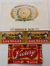 "Antique CIGAR BOX LABELS; ""GOLDEN SUN"", ""LAS VEGAS"" & ""VICTORY"": Gilded, Unused"