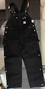 Carhartt R41 Men's 40 X 30 Black Duck Zip to thigh Bib Overalls Quilt Lined NWT