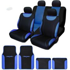 New Sleek Cloth Black and Blue Seat Covers With Vinyl Mats Full Set for Mazda