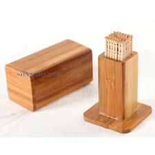Bamboo Wood Kitchen Utensil Holder Toothpick Case Container Lidded Box Storage