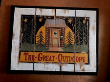 "GREAT OUTDOORS country primitive OUTHOUSE lodge cabin bathroom 10x13"" wood sign"
