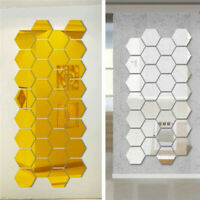 7PCs 3D Hexagonal Stereo Mirror Wall Sticker Living Room Bedroom Wall Decor DIY