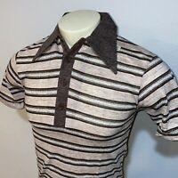 NOS Vtg 60s 70s SEARS Polo Shirt Striped Disco Mid Century Mod Brown MENS SMALL