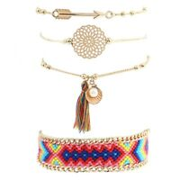 4Pcs Set Women Ethnic Boho Multilayer Beads Arrow Tassel Bracelet Bangle Jewelry