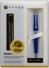 Cross Beverly Ballpoint Pen, Blue Lacquer & Chrome, 2 Free Refills, Brand New