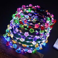 LED Colorful Flower Crown Women's Luminous Head Hoop Garland New Party Supplies
