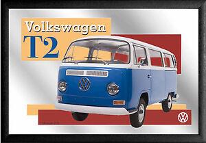 VW Volkswagen Bulli Bus T2 Nostalgie Barspiegel Spiegel Bar Mirror 22 x 32 cm