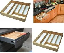 Large Beechwood Wooden Wood Cutlery Drawer Tray Organizer Kitchen Utensil Holder