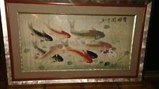 Vintage Signed Japanese Oriental Asian Watercolor Koi Fish On Silk Fine Art Deco