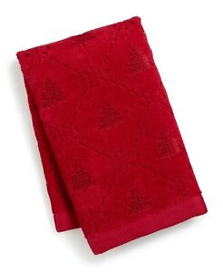 Martha Stewart Collection Snowflake Winter Tree Cotton Hand Towel - Red Combo