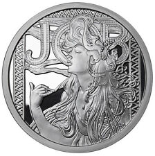 Alphonse Mucha 1 0z .999 silver coin JOB #1 in Art series collection limited COA