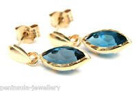 9ct Gold London Blue Topaz Drop D/C Earrings Gift Boxed Made in UK