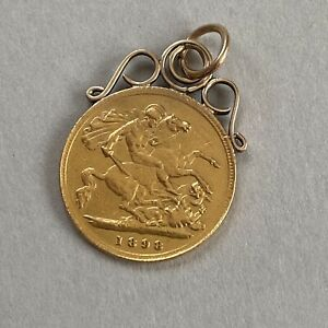 22ct Gold Half Sovereign 1898 Coin 9ct Gold Pendant Mount