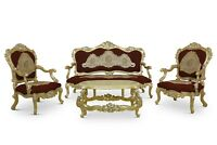 French Style , Hand Carved , Powdered Gold Leaf, Red wine Woven ,Living Room Set