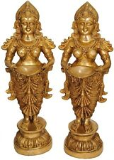 """Large Size Pair of Indian Apsara Welcome Lady With Lamp Home Office Décor 51"""""""