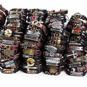 Wholesale 30pcs Mix Lots Handmade Metal Leather Cuff Bracelets for Men Women
