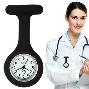 New Silicone Fashion Nurses Brooch Tunic Fob Watch With FREE BATTERY Black UK