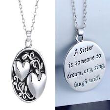 Love Heart Sister Love Pendant Necklace Handmade New Friend Family Silver Letter