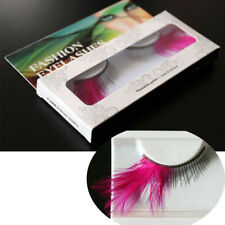 2pairs Stage Pink Feathers Exaggerated  Eyelashes Christmas Halloween Eye Lashes