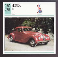 1947-1950 Bristol 400 British Car Photo Spec Sheet Info ATLAS CARD 1948 1949