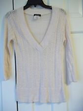A. BYER JUNIORS SIZE L PULLOVER SWEATER TOP V- NECK SEE THRU 3/4 SLEEVES TOP