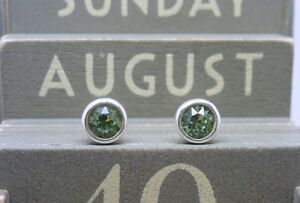 Silver Birthstone Ear Studs August Peridot Green Made with Swarovski Crystals