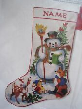 Christmas Sunset Crewel Stitchery Craft Stocking KIT,FRIENDS OF THE SNOWMAN,2029