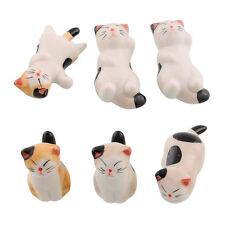 Set of 6 Porcelain Ceramic Cat Chopstick Stand Rest Rack Holder Novelty Gift New