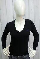 FRED PERRY Donna Taglia S Maglione Blu Lana Sweater Pullover Maglietta Pull
