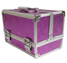 Purple Aluminium Rose Beauty Box Cosmetic Saloon Make Up Vanity Case Storage Bag