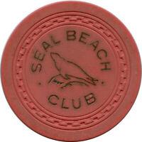 1940's Seal Beach Club Seal Beach, California CA Seal Pictorial $5 Casino Chip