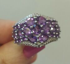 Sterling Silver URUGUAYAN AMETHYST 4 Cttw. Cluster Ring, Rhodium-Plated, Size 8