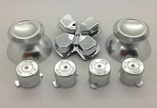 Metal Silver thumbsticks + Buttons and Chrome Silver D-pad for PS4 Controllers