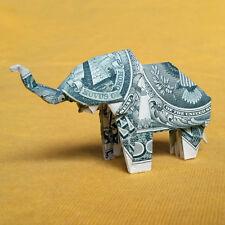 Money 1$ Dollar Bill Origami ELEPHANT 3D Statue Lucky Charm Sculpture Home Decor