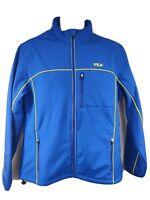 Fila Adventure Water Repellant Reflective Blue Jacket Full Zip Pockets Mens L