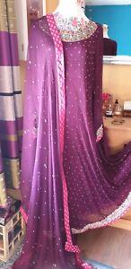 Damen Bollywood Pakistanisch Indisch Kleid Kurta 2tlg Schal Lila Pink...