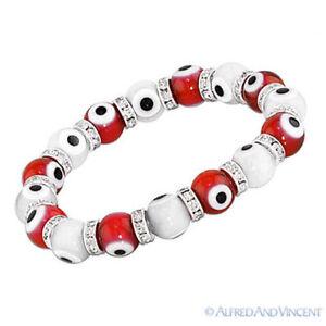 Evil Eye 10mm Lampwork Glass Turkish Nazar Greek Hamsa Kabbalah Stretch Bracelet