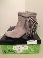 Sam Edelman Louie Grey Suede Fringe Heel Ankle Boots Size 6M *NEW