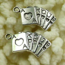 Free Ship 195 pieces tibetan silver playing cards charms 24x13mm #833