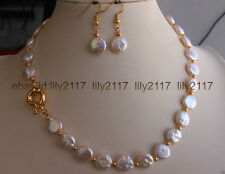 """AAA natural 11-12mm white Coin Pearl yellow Spacer Beads Necklace Earrings 18"""""""