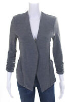Tart Womens Ruched 3/4 Sleeve Open Front Blazer Dark Gray Size Extra Small