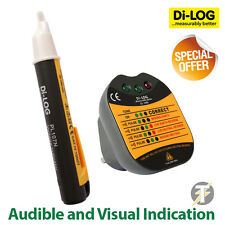 Di-Log dl1090 LED 13a Señal Acústica Tester de Enchufes & PL107N Voltímetro /
