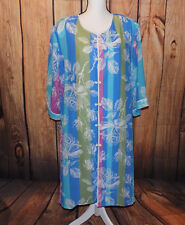 Bob Mackie Wearable Art Multi-Color Floral Stripe Polyester Housecoat Robe -2X-