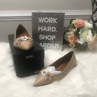 NIB Authentic $225 COACH FLORAL APPLIQUE Beechwood Leather Pointed Toe Flats 8