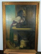 "Antique Painting Of A Girl Drinking From Fountain ""Catching A Drink"""