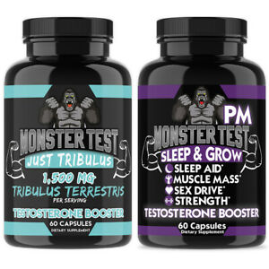 Monster Test Mens Just Tribulus + Monster PM Sleep Aid Testosterone Booster 2pk